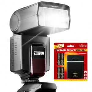 Speedlight Montana C600 with Fujitsu Battery with Rechargeable and USB POWERBANK