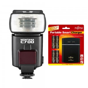 Speedlight Montana C700 with Fujitsu Battery with Rechargeable and USB POWERBANK